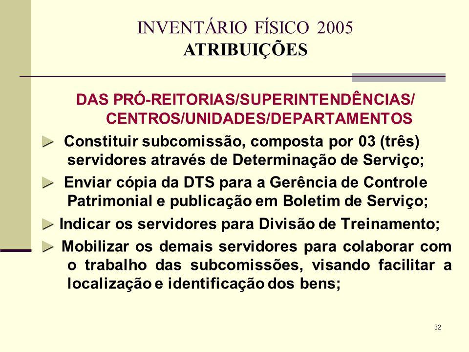 32 DAS PRÓ-REITORIAS/SUPERINTENDÊNCIAS/ CENTROS/UNIDADES/DEPARTAMENTOS Constituir subcomissão, composta por 03 (três) servidores através de Determinaç