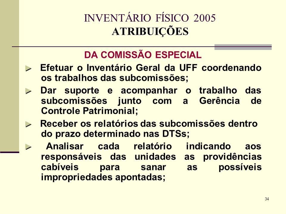 34 ATRIBUIÇÕES INVENTÁRIO FÍSICO 2005 ATRIBUIÇÕES DA COMISSÃO ESPECIAL Efetuar o Inventário Geral da UFF coordenando os trabalhos das subcomissões; Da