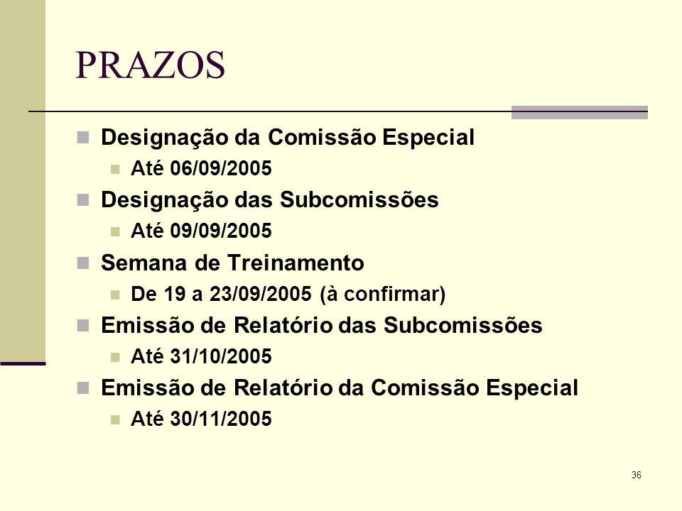 36 PRAZOS Designação da Comissão Especial Até 06/09/2005 Designação das Subcomissões Até 09/09/2005 Semana de Treinamento De 19 a 23/09/2005 (à confir
