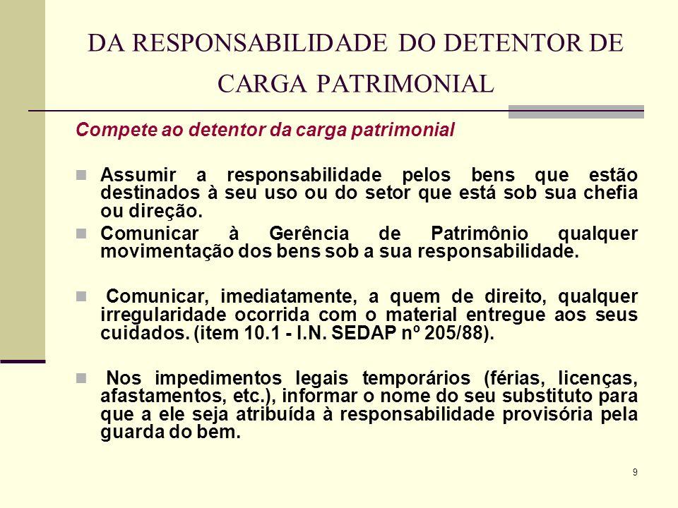 9 DA RESPONSABILIDADE DO DETENTOR DE CARGA PATRIMONIAL Compete ao detentor da carga patrimonial Assumir a responsabilidade pelos bens que estão destin