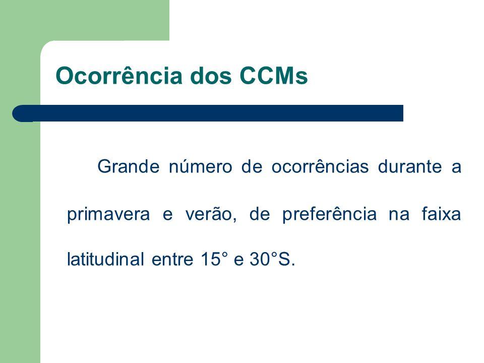 Ocorrência dos CCMs Grande número de ocorrências durante a primavera e verão, de preferência na faixa latitudinal entre 15° e 30°S.