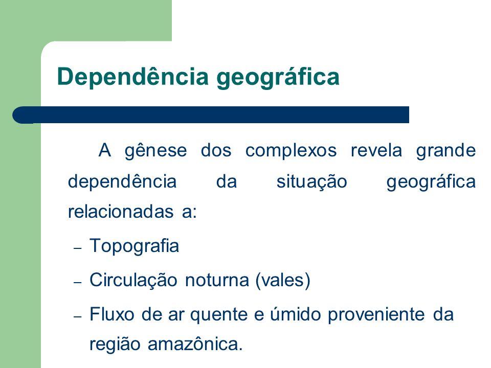 Dependência geográfica A gênese dos complexos revela grande dependência da situação geográfica relacionadas a: – Topografia – Circulação noturna (vale