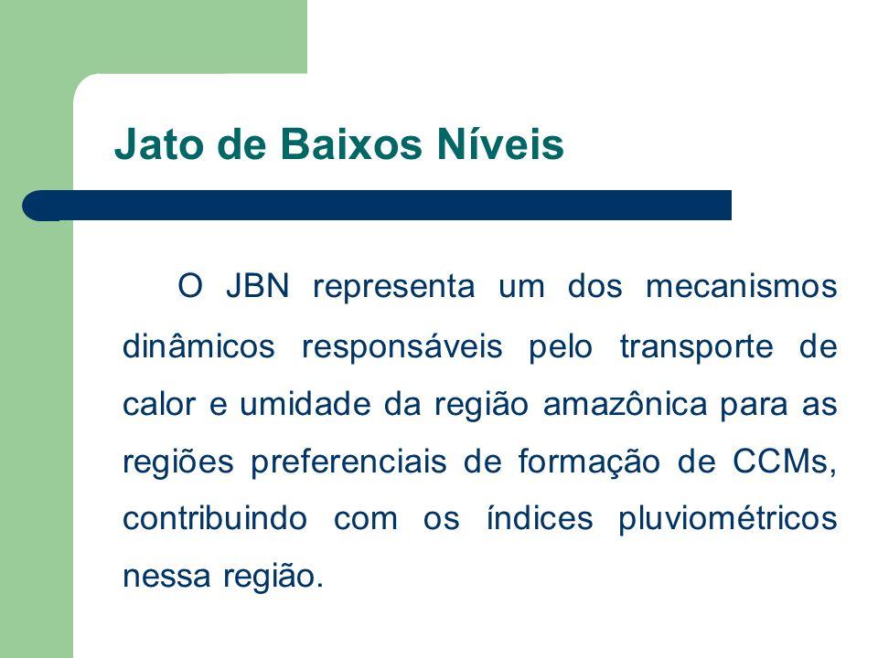Jato de Baixos Níveis O JBN representa um dos mecanismos dinâmicos responsáveis pelo transporte de calor e umidade da região amazônica para as regiões