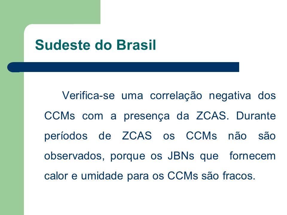 Sudeste do Brasil Verifica-se uma correlação negativa dos CCMs com a presença da ZCAS. Durante períodos de ZCAS os CCMs não são observados, porque os
