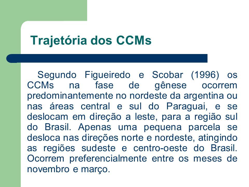 Trajetória dos CCMs Segundo Figueiredo e Scobar (1996) os CCMs na fase de gênese ocorrem predominantemente no nordeste da argentina ou nas áreas centr