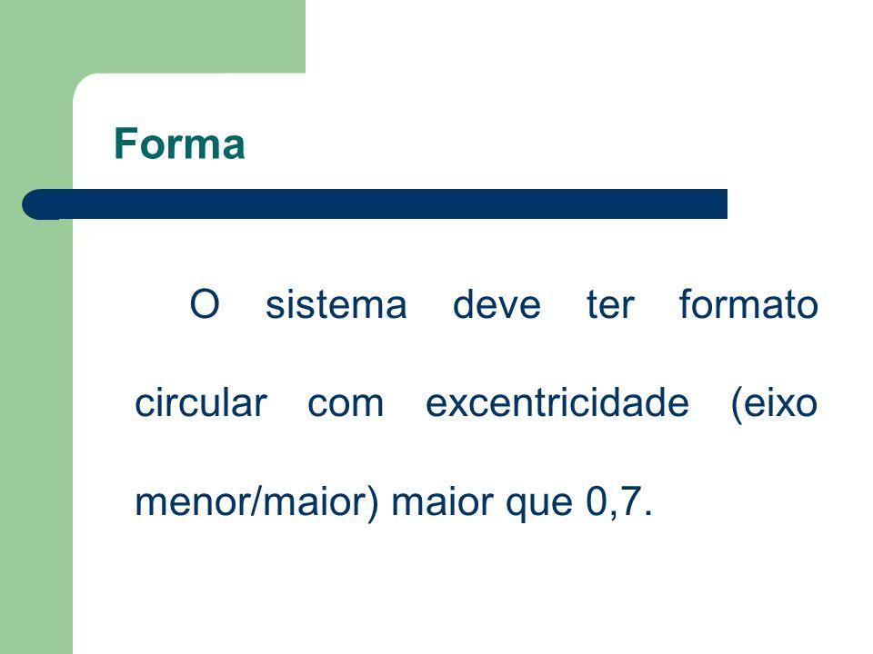 Forma O sistema deve ter formato circular com excentricidade (eixo menor/maior) maior que 0,7.