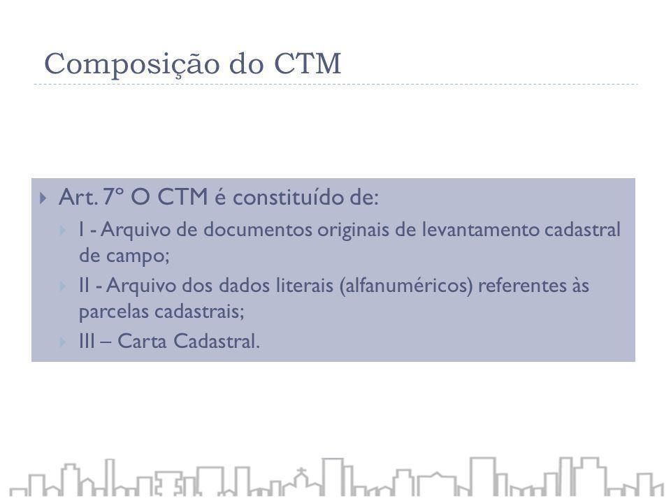 Art. 7º O CTM é constituído de: I - Arquivo de documentos originais de levantamento cadastral de campo; II - Arquivo dos dados literais (alfanuméricos