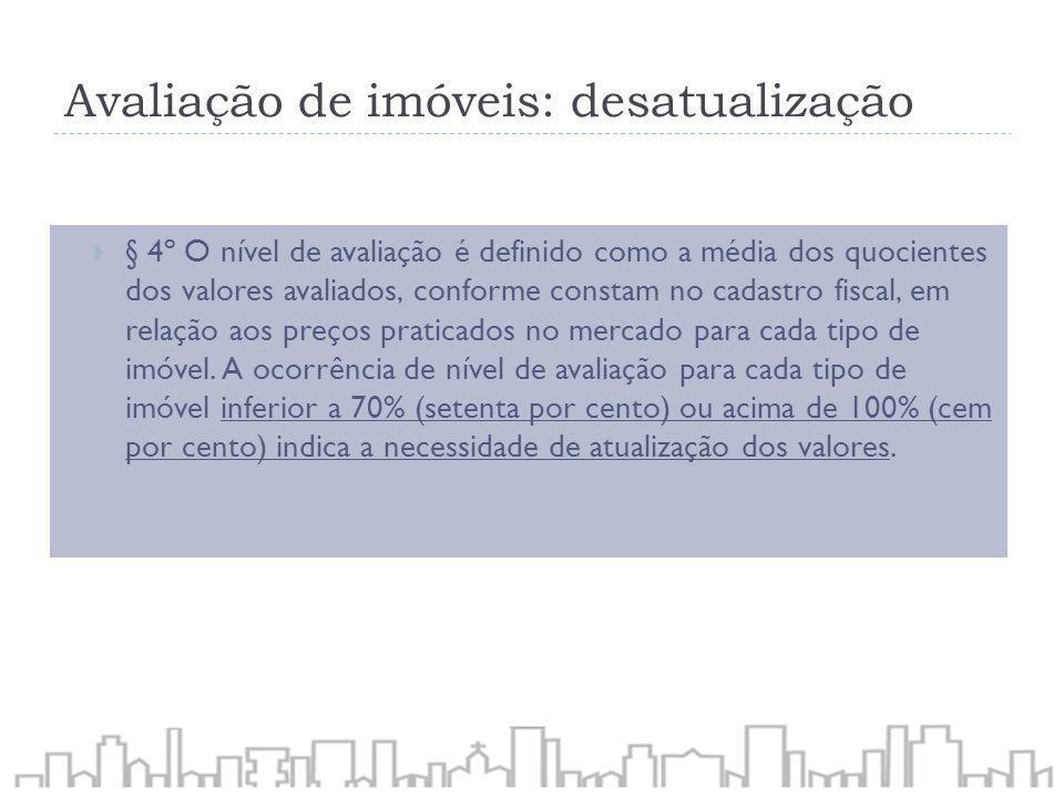 Avaliação de imóveis: desatualização § 4º O nível de avaliação é definido como a média dos quocientes dos valores avaliados, conforme constam no cadas