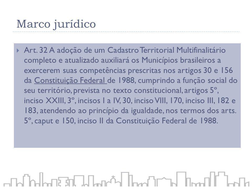 Art. 32 A adoção de um Cadastro Territorial Multifinalitário completo e atualizado auxiliará os Municípios brasileiros a exercerem suas competências p