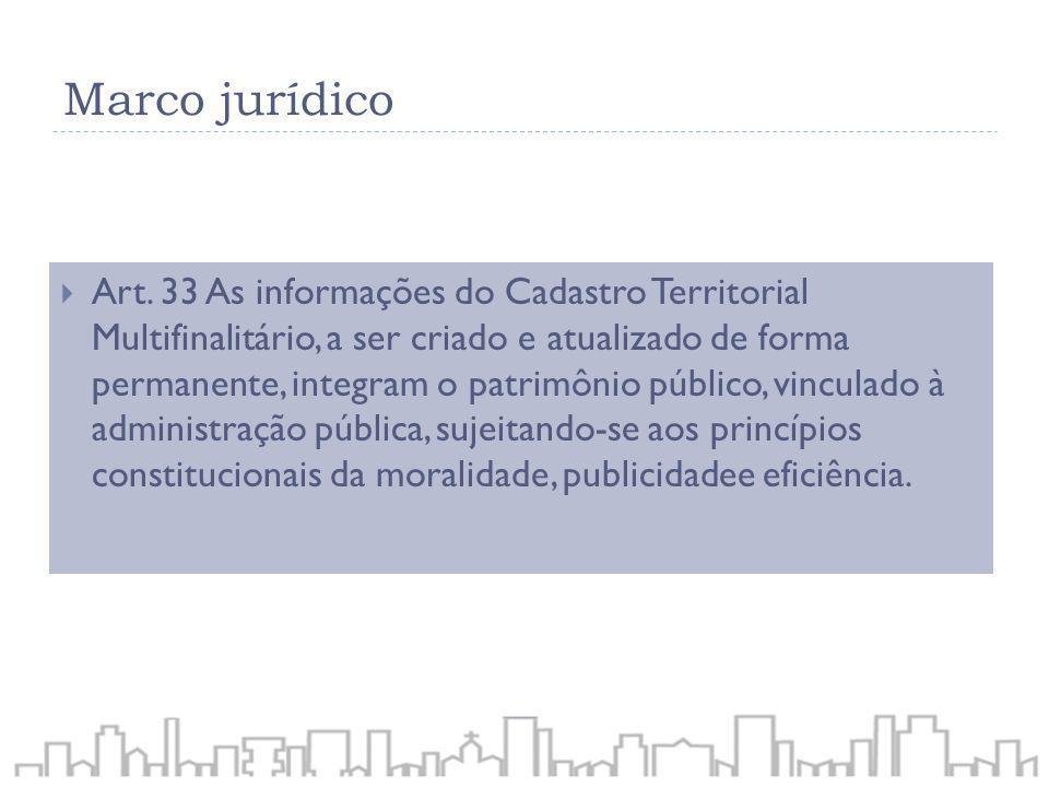 Art. 33 As informações do Cadastro Territorial Multifinalitário, a ser criado e atualizado de forma permanente, integram o patrimônio público, vincula