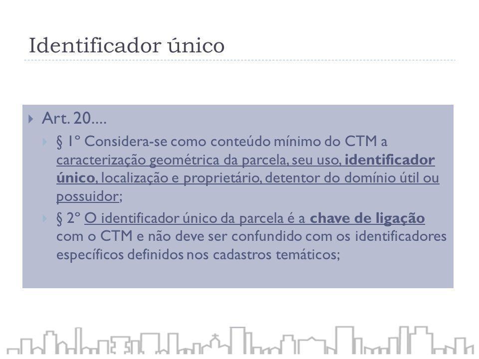Identificador único Art. 20.... § 1º Considera-se como conteúdo mínimo do CTM a caracterização geométrica da parcela, seu uso, identificador único, lo