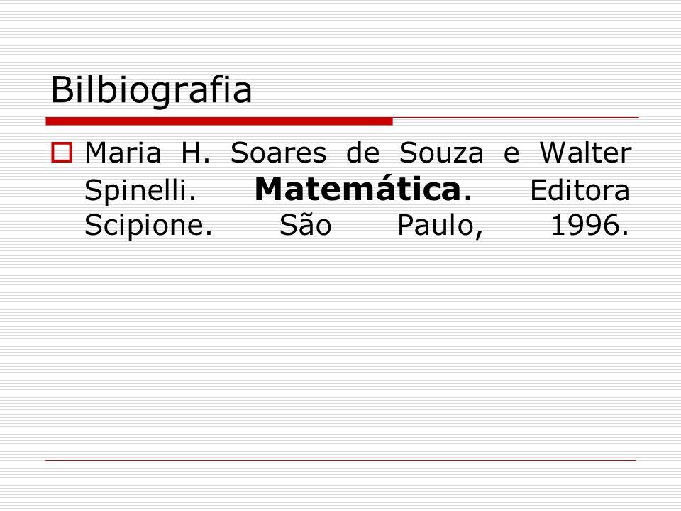 Bilbiografia Maria H. Soares de Souza e Walter Spinelli. Matemática. Editora Scipione. São Paulo, 1996.