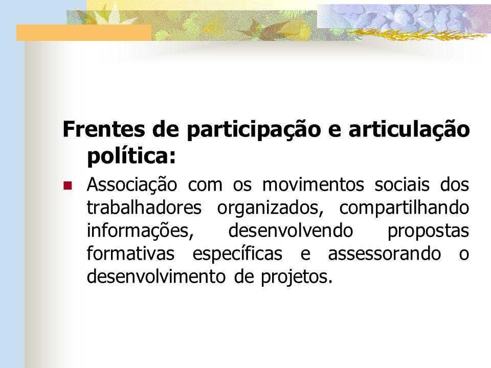 Frentes de participação e articulação política: Associação com os movimentos sociais dos trabalhadores organizados, compartilhando informações, desenvolvendo propostas formativas específicas e assessorando o desenvolvimento de projetos.