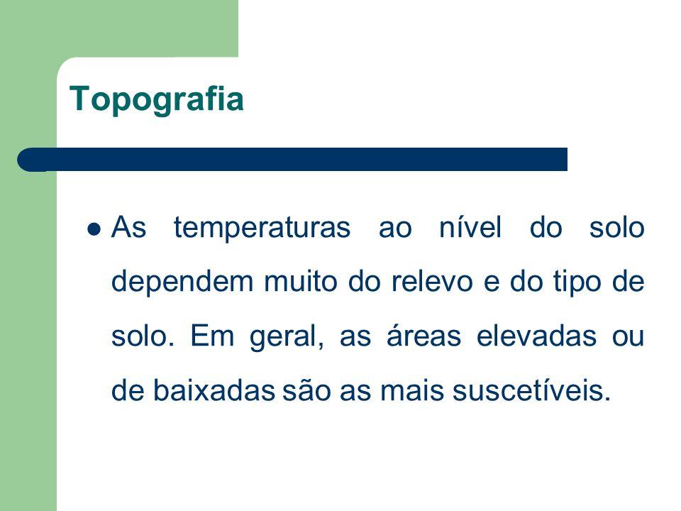 Topografia As temperaturas ao nível do solo dependem muito do relevo e do tipo de solo.