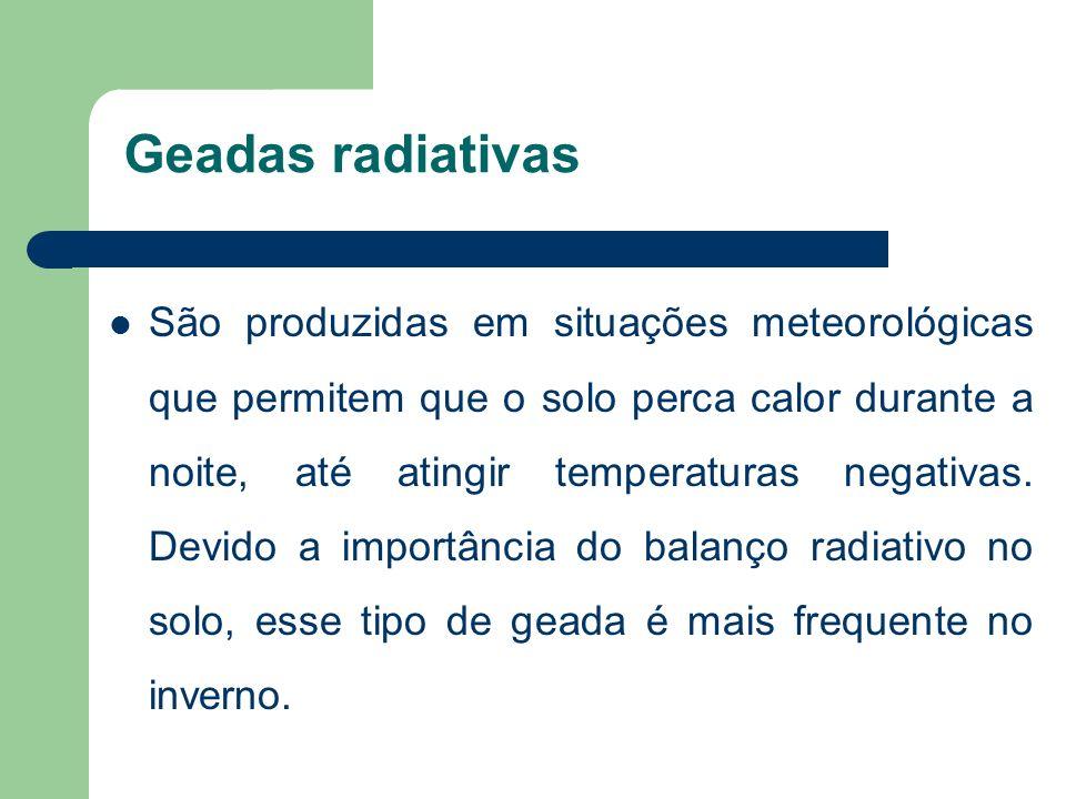 Geadas radiativas São produzidas em situações meteorológicas que permitem que o solo perca calor durante a noite, até atingir temperaturas negativas.
