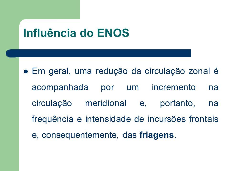 Influência do ENOS Em geral, uma redução da circulação zonal é acompanhada por um incremento na circulação meridional e, portanto, na frequência e intensidade de incursões frontais e, consequentemente, das friagens.
