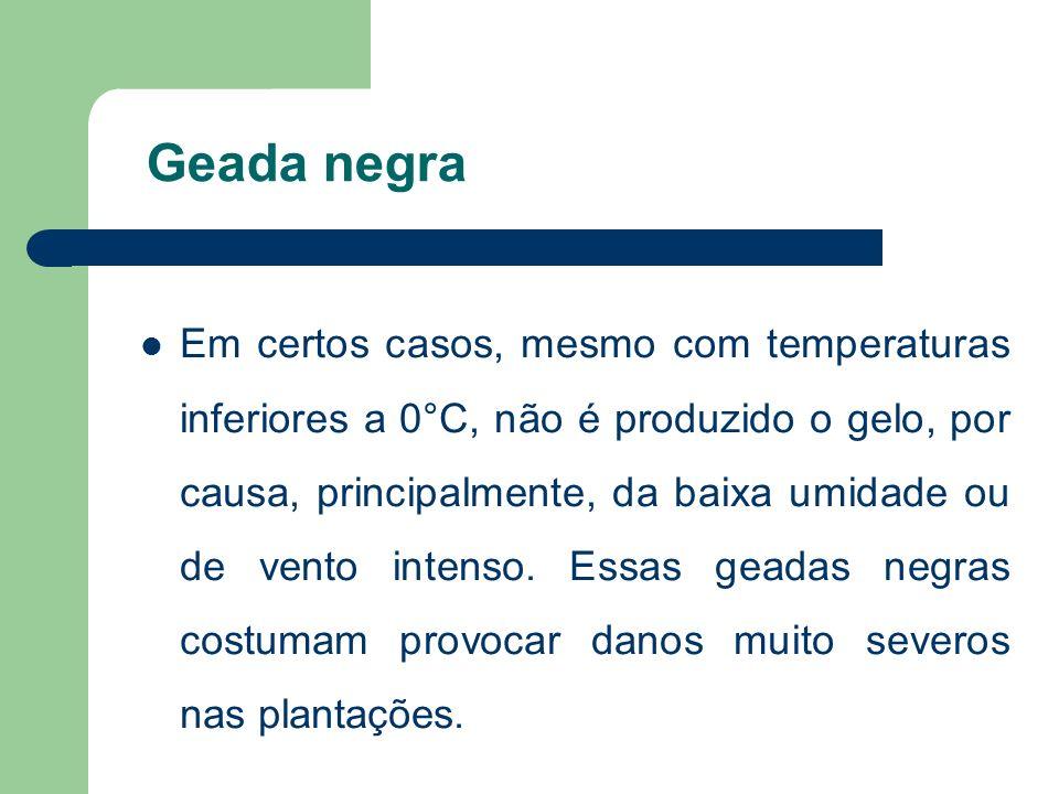 No Brasil Na maioria dos casos, as geadas são do tipo radiativo.