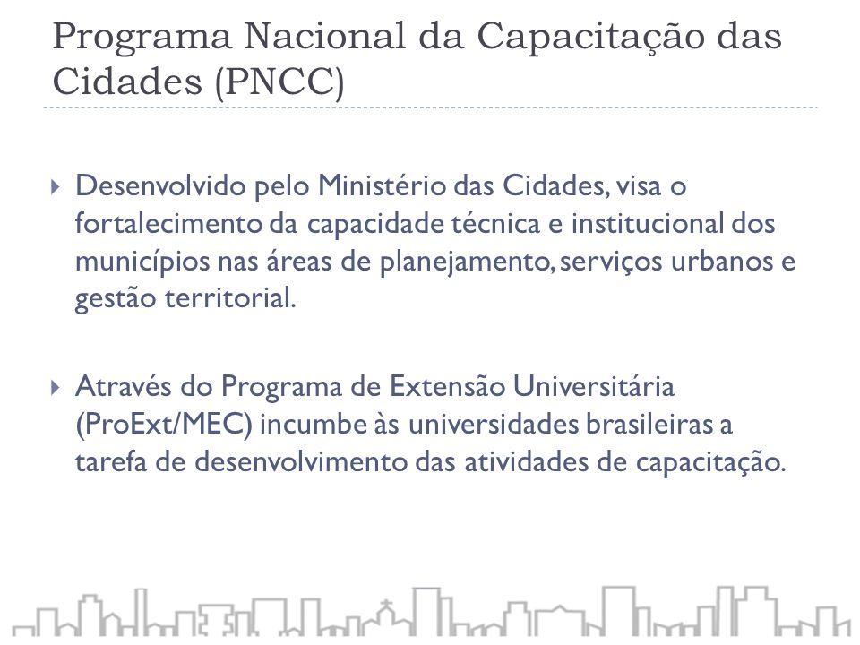 Programa Nacional da Capacitação das Cidades (PNCC) Desenvolvido pelo Ministério das Cidades, visa o fortalecimento da capacidade técnica e institucio