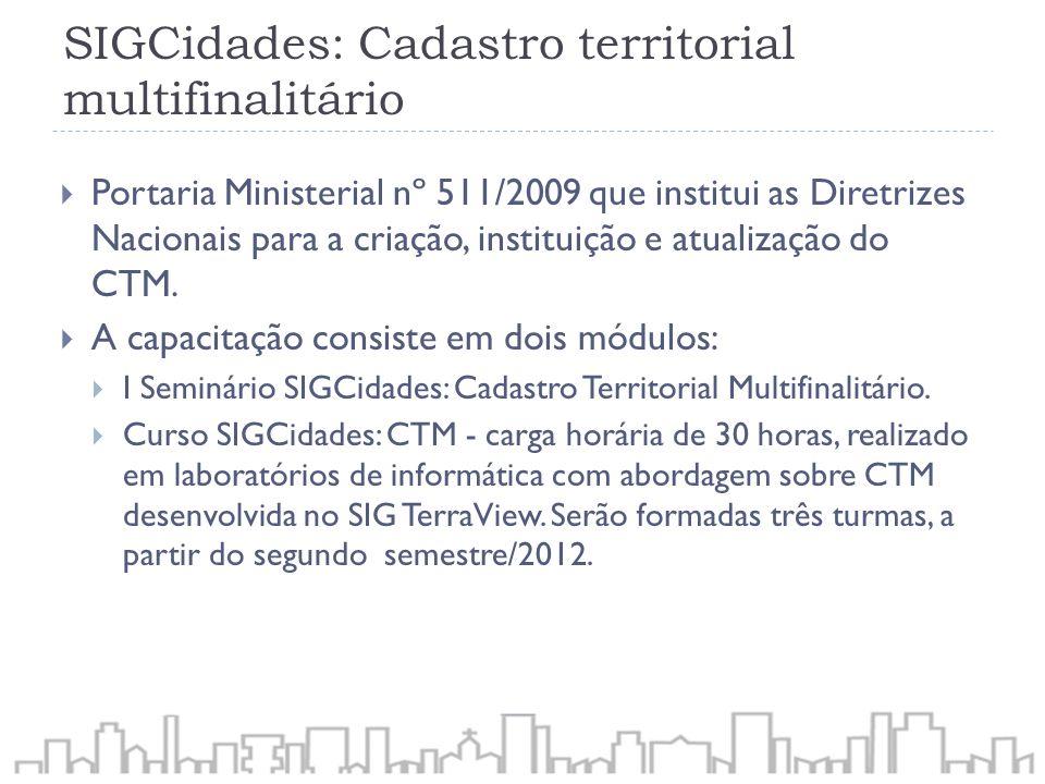 SIGCidades: Cadastro territorial multifinalitário Portaria Ministerial nº 511/2009 que institui as Diretrizes Nacionais para a criação, instituição e