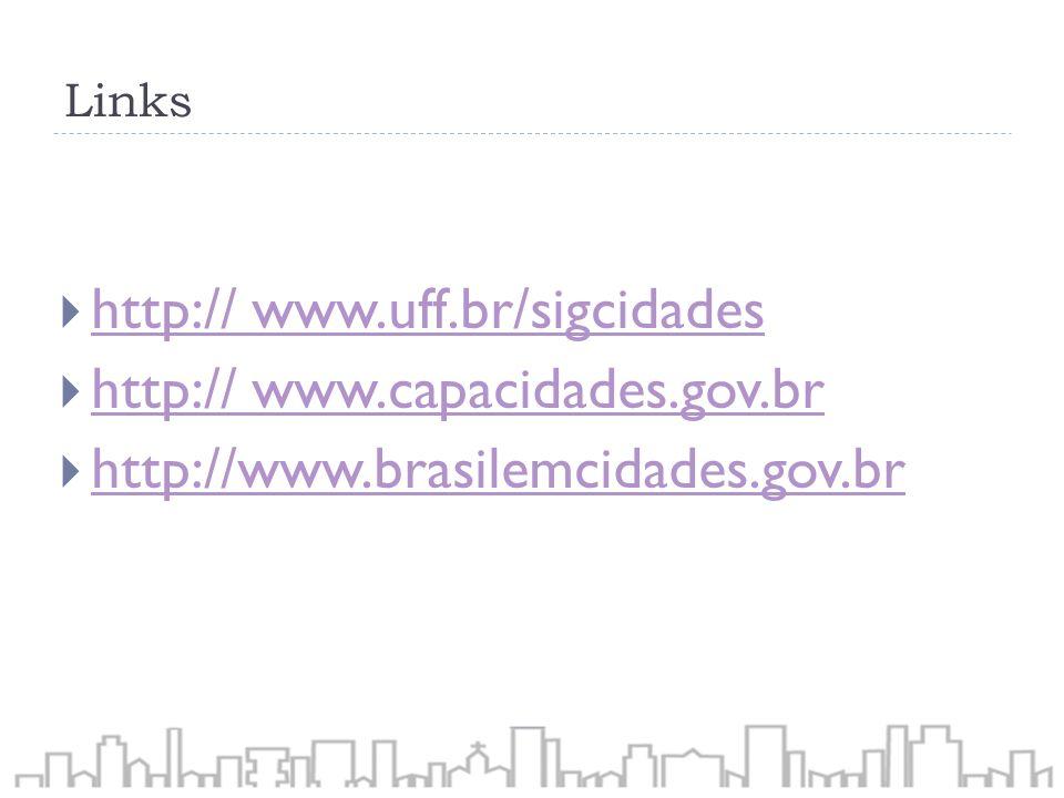 Links http:// www.uff.br/sigcidades http:// www.uff.br/sigcidades http:// www.capacidades.gov.br http:// www.capacidades.gov.br http://www.brasilemcid