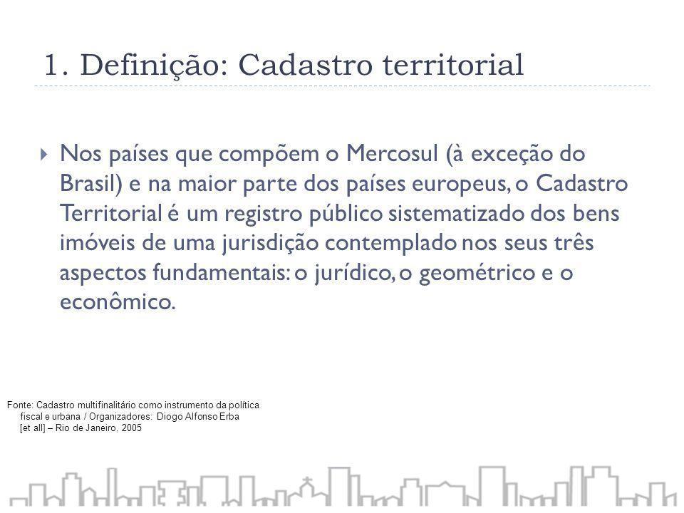 1. Definição: Cadastro territorial Nos países que compõem o Mercosul (à exceção do Brasil) e na maior parte dos países europeus, o Cadastro Territoria