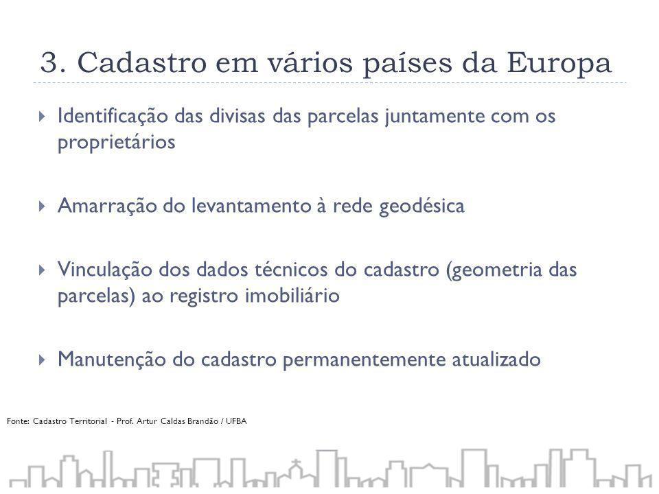 3. Cadastro em vários países da Europa Identificação das divisas das parcelas juntamente com os proprietários Amarração do levantamento à rede geodési