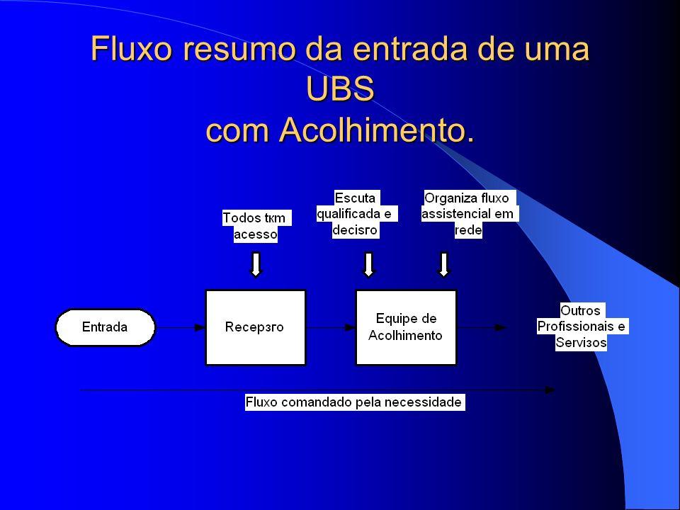 Fluxo resumo da entrada de uma UBS com Acolhimento.