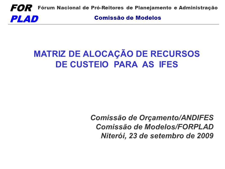 FOR PLAD Fórum Nacional de Pró-Reitores de Planejamento e Administração Comissão de Modelos MATRIZ DE ALOCAÇÃO DE RECURSOS DE CUSTEIO PARA AS IFES Com