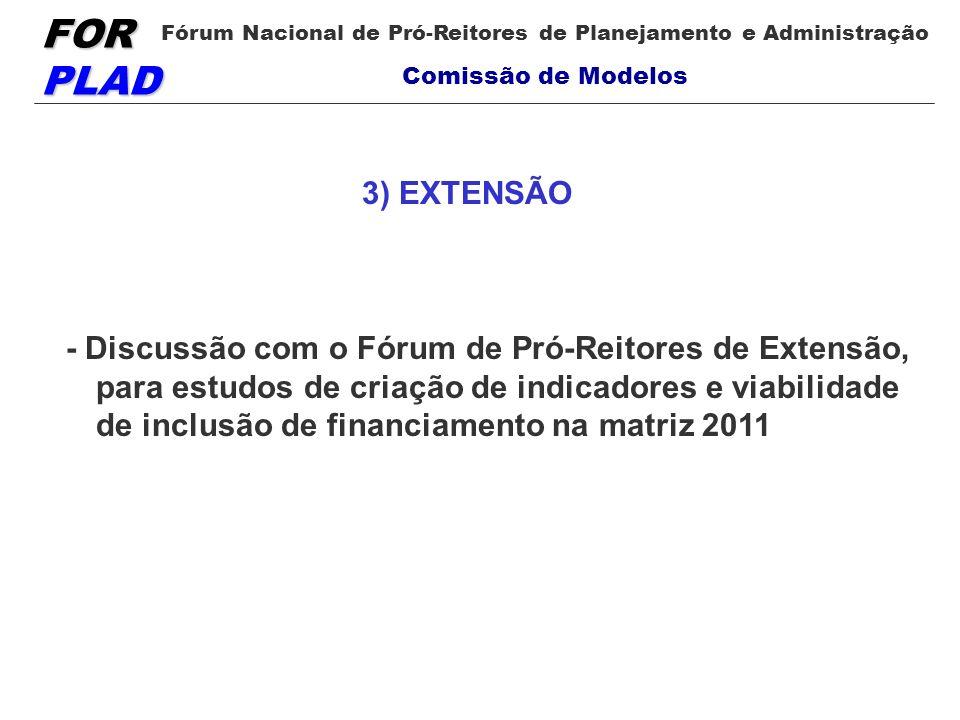 FOR PLAD Fórum Nacional de Pró-Reitores de Planejamento e Administração Comissão de Modelos - Discussão com o Fórum de Pró-Reitores de Extensão, para