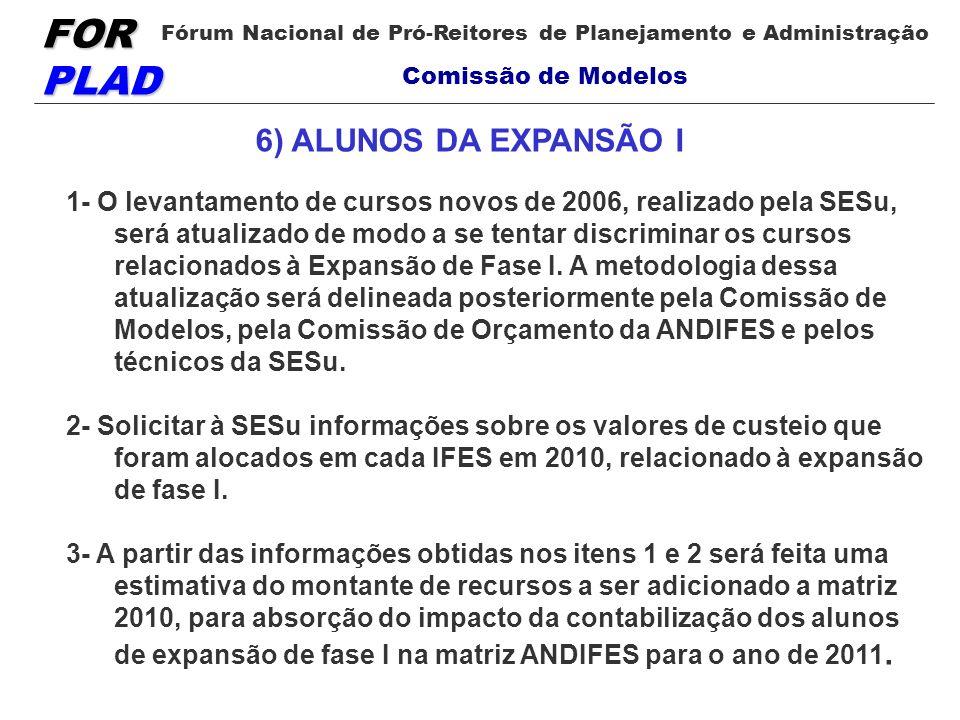 FOR PLAD Fórum Nacional de Pró-Reitores de Planejamento e Administração Comissão de Modelos 1- O levantamento de cursos novos de 2006, realizado pela