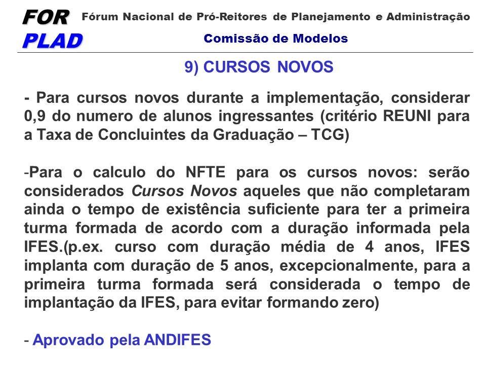 FOR PLAD Fórum Nacional de Pró-Reitores de Planejamento e Administração Comissão de Modelos 9) CURSOS NOVOS - Para cursos novos durante a implementaçã