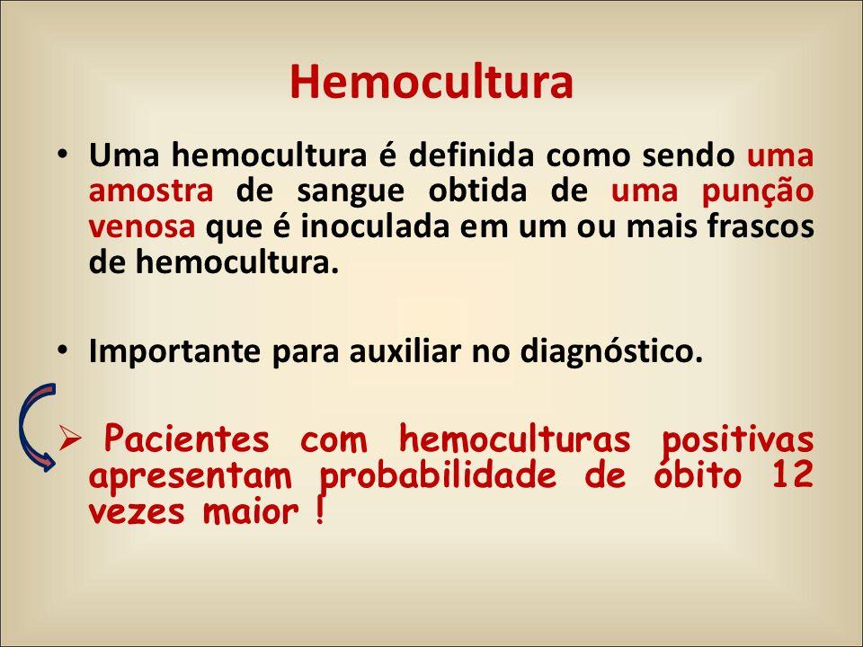 Hemocultura Uma hemocultura é definida como sendo uma amostra de sangue obtida de uma punção venosa que é inoculada em um ou mais frascos de hemocultu