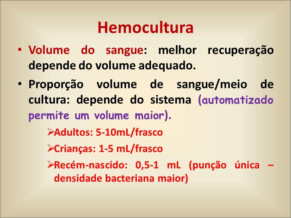 Volume do sangue: melhor recuperação depende do volume adequado. Proporção volume de sangue/meio de cultura: depende do sistema ( automatizado permite
