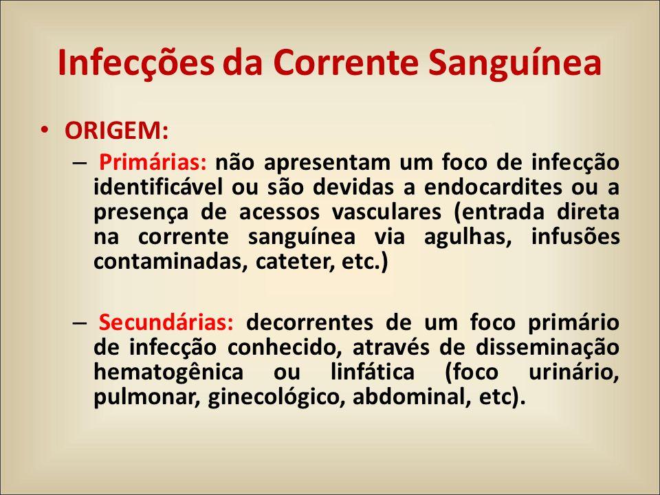 ORIGEM: – Primárias: não apresentam um foco de infecção identificável ou são devidas a endocardites ou a presença de acessos vasculares (entrada diret