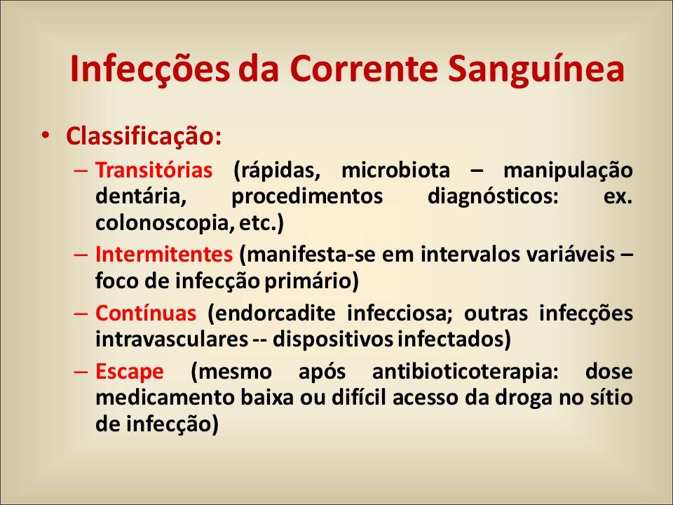 Classificação: – Transitórias (rápidas, microbiota – manipulação dentária, procedimentos diagnósticos: ex. colonoscopia, etc.) – Intermitentes (manife