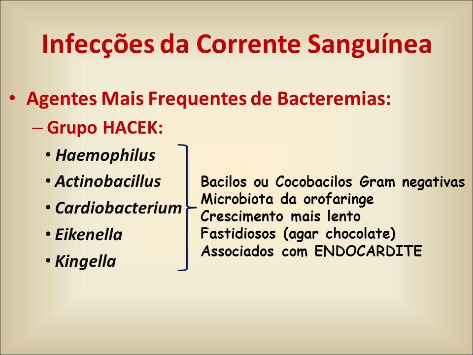 Agentes Mais Frequentes de Bacteremias: – Grupo HACEK: Haemophilus Actinobacillus Cardiobacterium Eikenella Kingella Bacilos ou Cocobacilos Gram negat