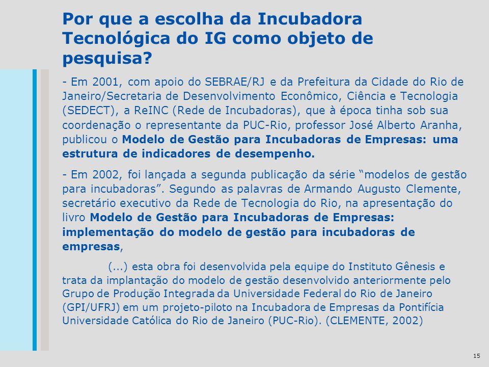15 Por que a escolha da Incubadora Tecnológica do IG como objeto de pesquisa? - Em 2001, com apoio do SEBRAE/RJ e da Prefeitura da Cidade do Rio de Ja
