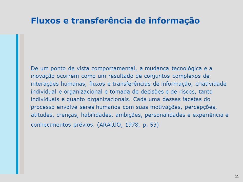 22 Fluxos e transferência de informação De um ponto de vista comportamental, a mudança tecnológica e a inovação ocorrem como um resultado de conjuntos