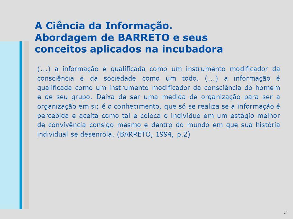 24 A Ciência da Informação. Abordagem de BARRETO e seus conceitos aplicados na incubadora (...) a informação é qualificada como um instrumento modific