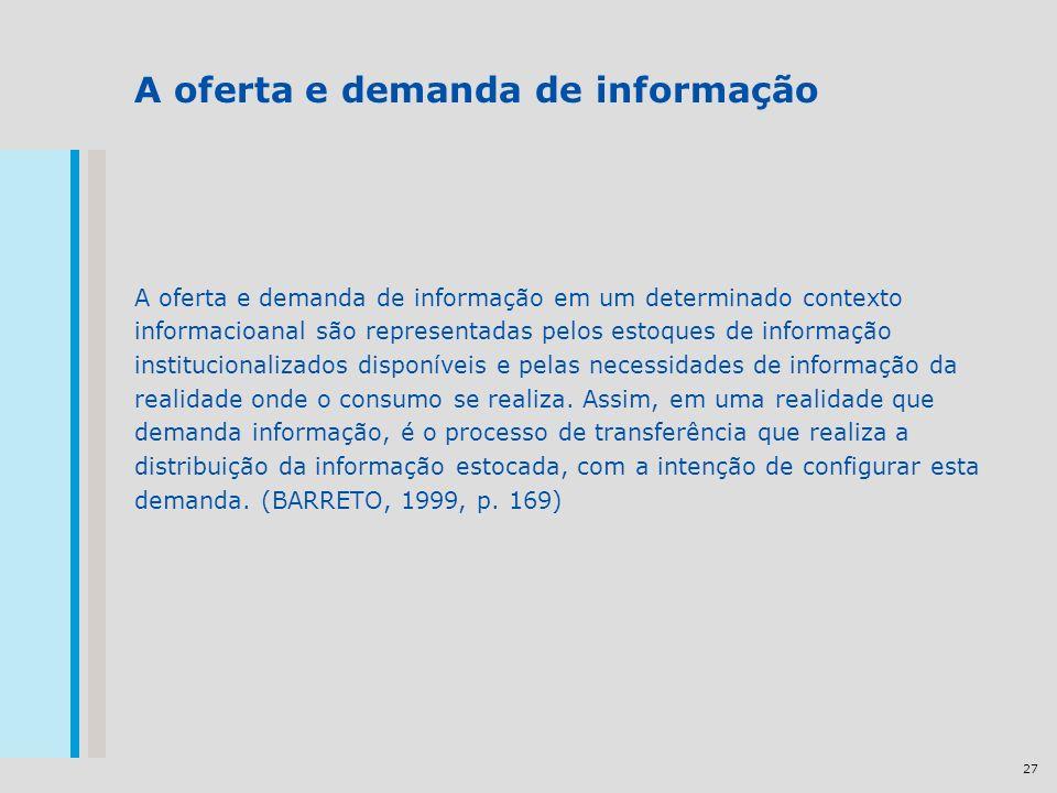 27 A oferta e demanda de informação A oferta e demanda de informação em um determinado contexto informacioanal são representadas pelos estoques de informação institucionalizados disponíveis e pelas necessidades de informação da realidade onde o consumo se realiza.