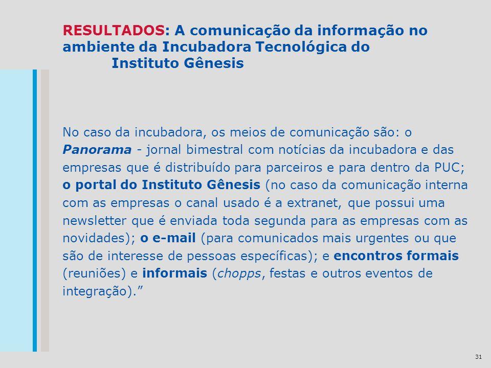 31 RESULTADOS: A comunicação da informação no ambiente da Incubadora Tecnológica do Instituto Gênesis No caso da incubadora, os meios de comunicação s