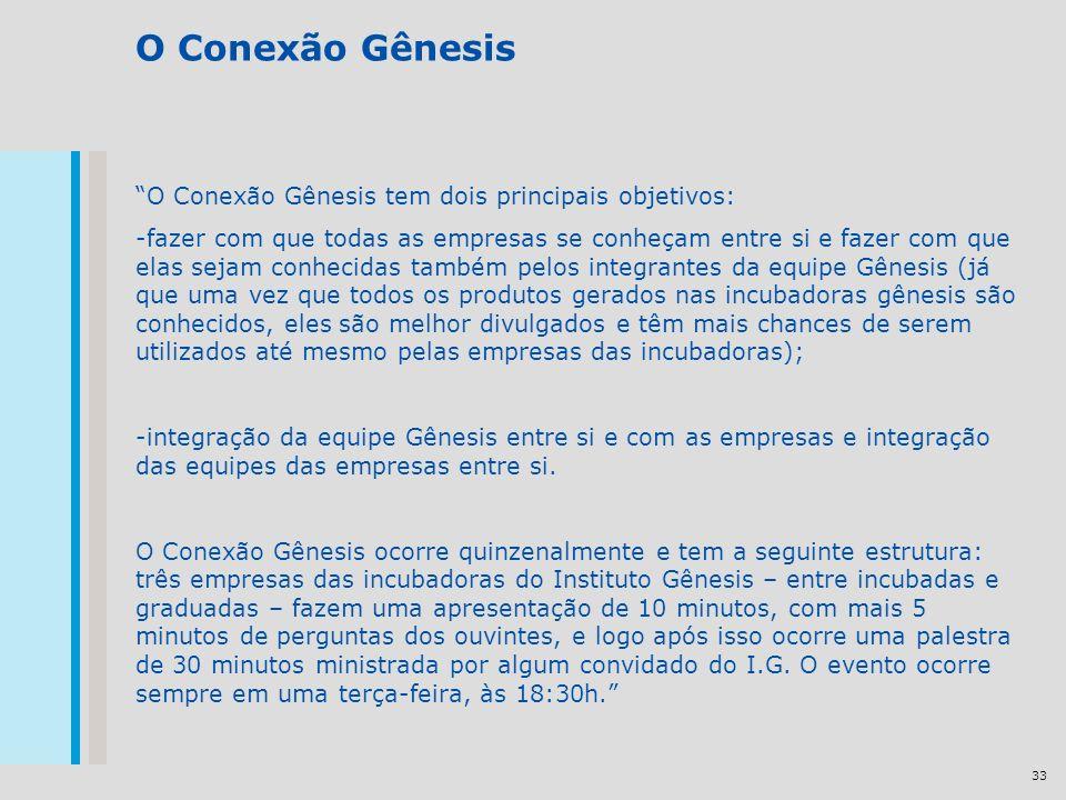 33 O Conexão Gênesis O Conexão Gênesis tem dois principais objetivos: -fazer com que todas as empresas se conheçam entre si e fazer com que elas sejam
