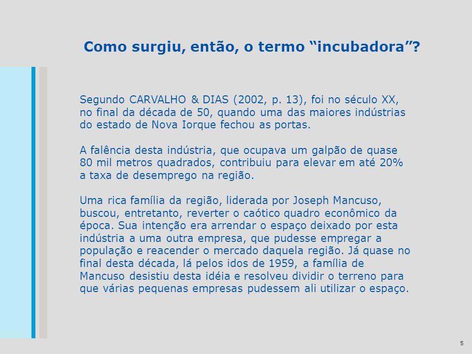 5 Como surgiu, então, o termo incubadora? Segundo CARVALHO & DIAS (2002, p. 13), foi no século XX, no final da década de 50, quando uma das maiores in