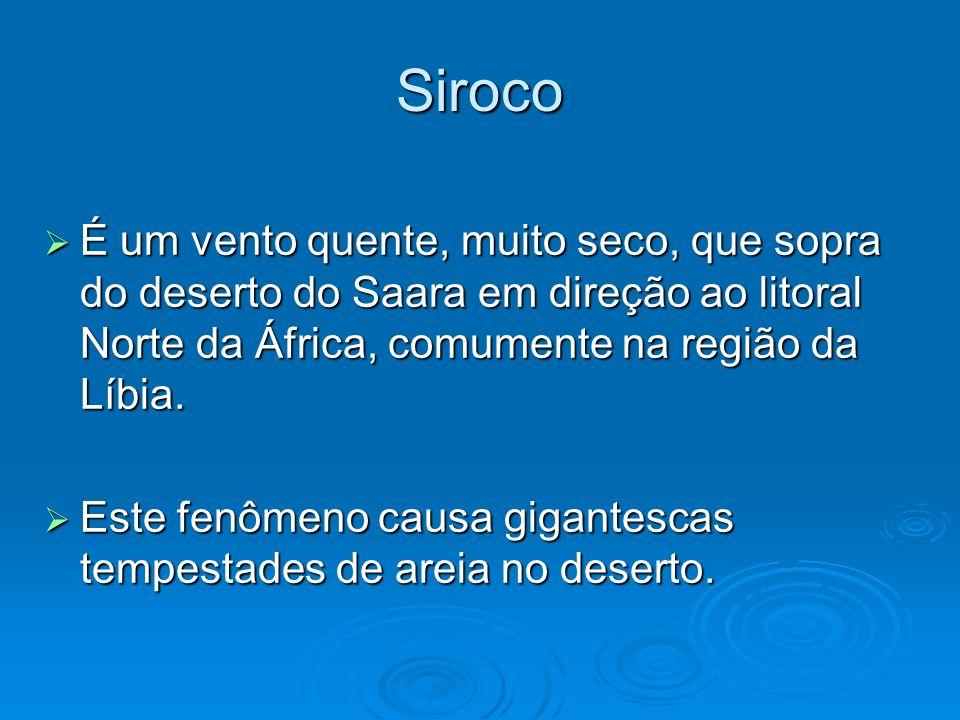 Siroco É um vento quente, muito seco, que sopra do deserto do Saara em direção ao litoral Norte da África, comumente na região da Líbia. É um vento qu