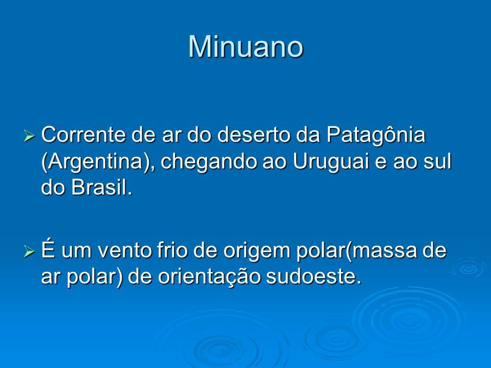 Minuano Corrente de ar do deserto da Patagônia (Argentina), chegando ao Uruguai e ao sul do Brasil. Corrente de ar do deserto da Patagônia (Argentina)