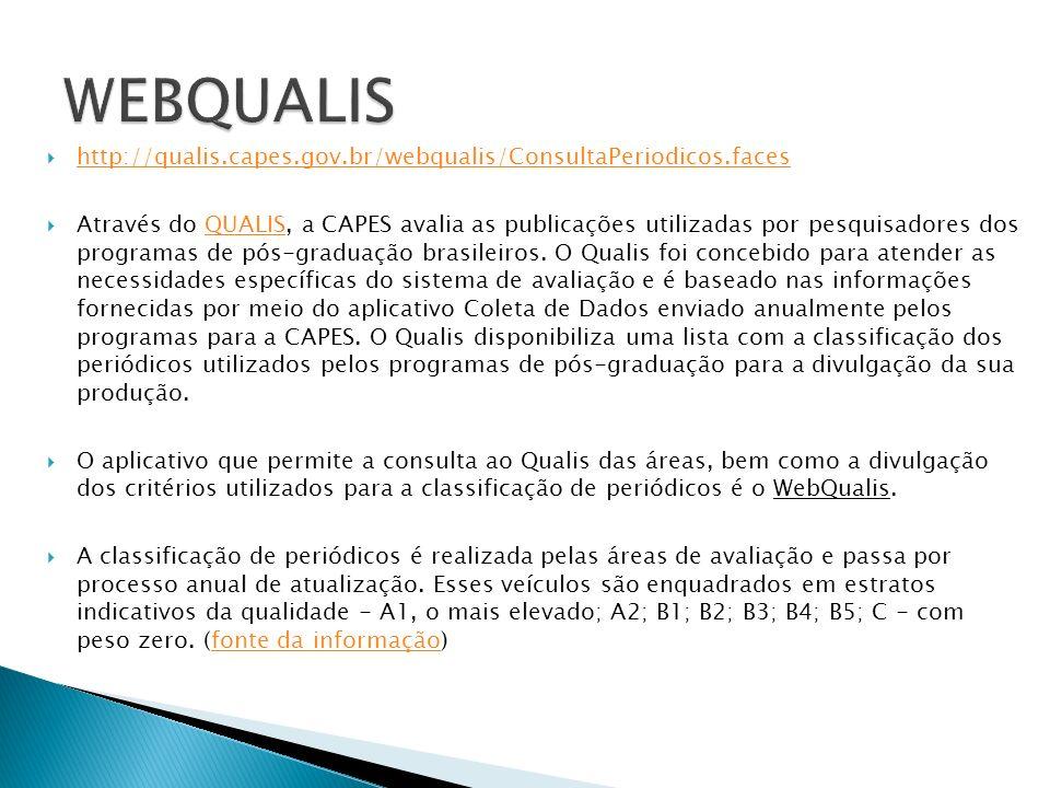 http://qualis.capes.gov.br/webqualis/ConsultaPeriodicos.faces Através do QUALIS, a CAPES avalia as publicações utilizadas por pesquisadores dos programas de pós-graduação brasileiros.