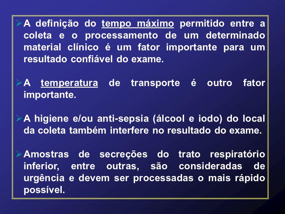 A definição do tempo máximo permitido entre a coleta e o processamento de um determinado material clínico é um fator importante para um resultado conf