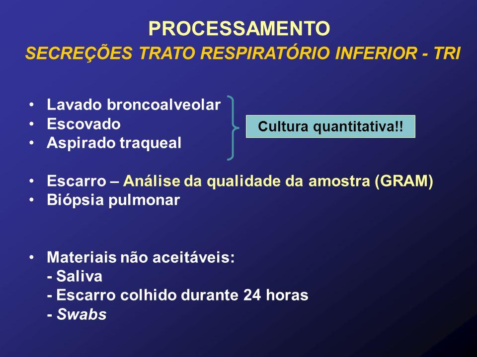 Lavado broncoalveolar Escovado Aspirado traqueal Escarro – Análise da qualidade da amostra (GRAM) Biópsia pulmonar Materiais não aceitáveis: - Saliva