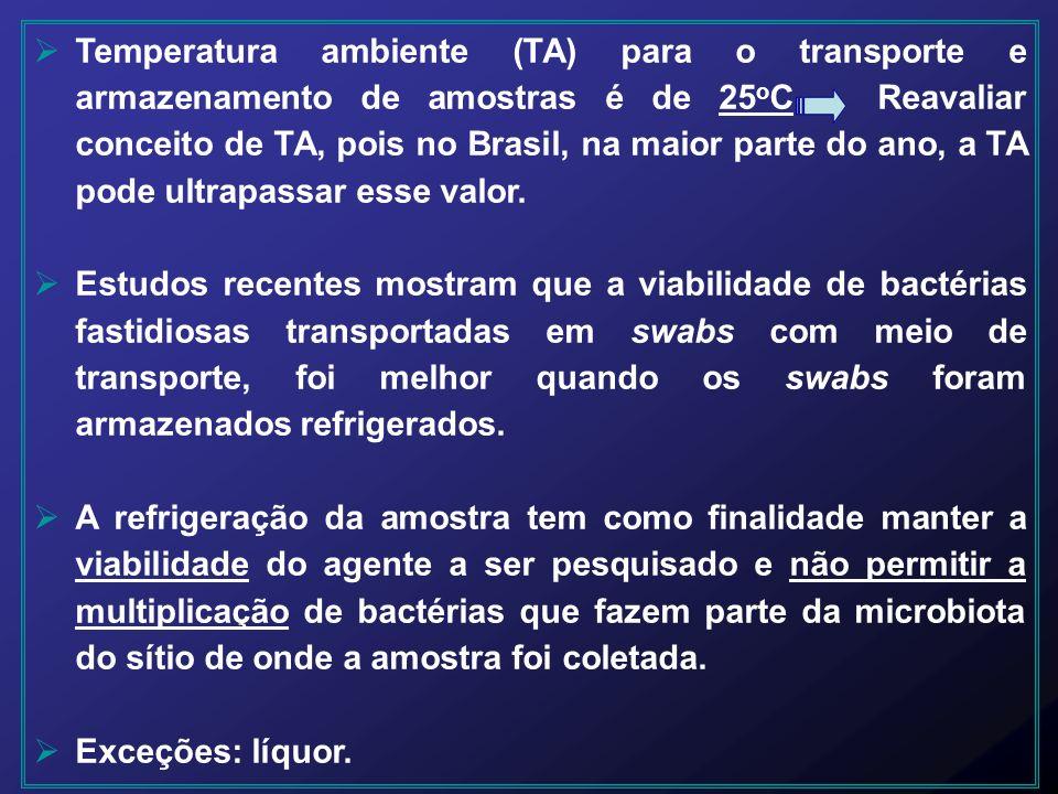Temperatura ambiente (TA) para o transporte e armazenamento de amostras é de 25 o C Reavaliar conceito de TA, pois no Brasil, na maior parte do ano, a