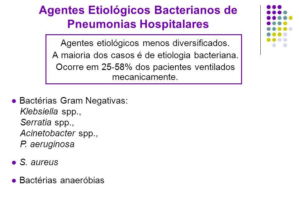 Agentes etiológicos menos diversificados. A maioria dos casos é de etiologia bacteriana. Ocorre em 25-58% dos pacientes ventilados mecanicamente. Agen
